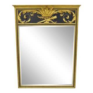 French Louis XV Neoclassical Style Black Gold Giltwood Trumeau Wall Mirror