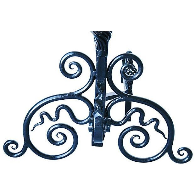 Hand-Forged 1930s Fireplace Andirons - A Pair - Image 6 of 7