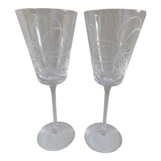 Kate Spade for Lenox Crystal Wine Glasses - a Pair For Sale