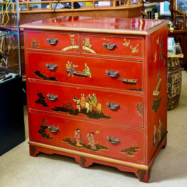 Charming Chinoiserie Red Lacquer Chest of Drawers by the well known American Furniture company Furniture Classics Ltd. in...