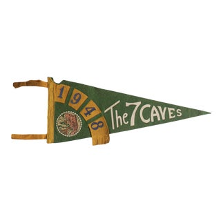 Vintage 1948 the 7 Caves Felt Flag Pennant For Sale