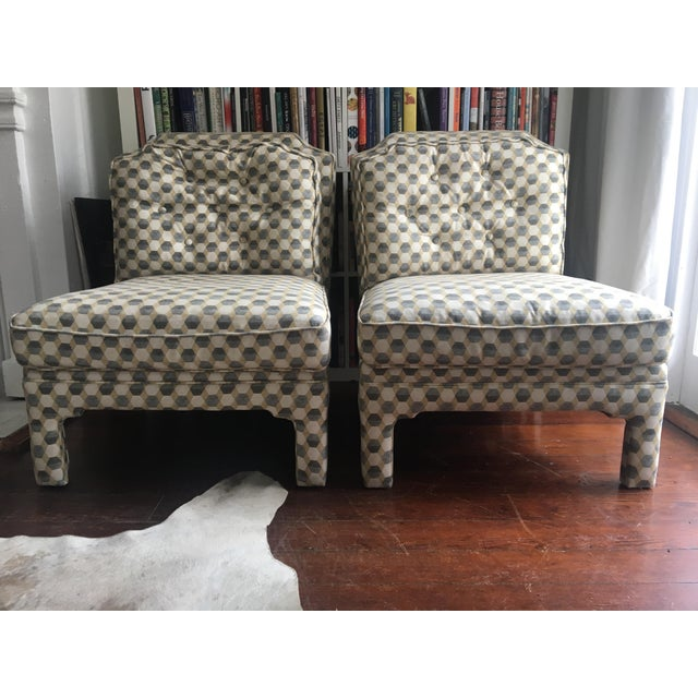Contemporary Upholstered Slipper Chairs - A Pair For Sale - Image 4 of 4