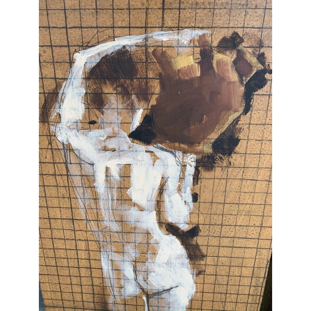 Mid-Century Modern Original Nude Triptych, Mixed Media on Wood For Sale - Image 3 of 6