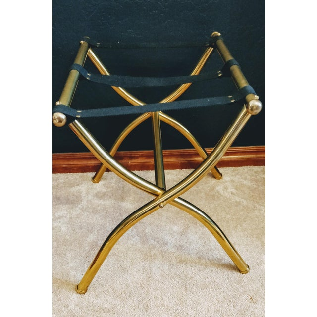 Brass Late 20th Century Brass Luggage Rack / Valet For Sale - Image 7 of 11