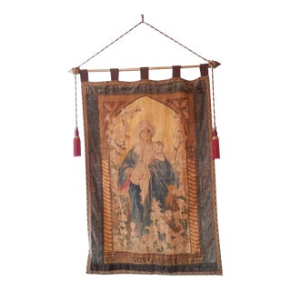 19th Century Italian Religious Banner Mater Amabilis Hand-Painted For Sale