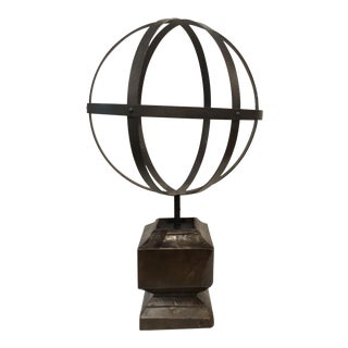 Large Industrial Modern Iron Sphere and Vintage Wood Base Sculpture For Sale