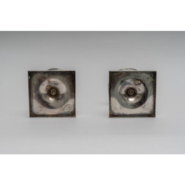 1960s Silver Plated Candlesticks by Tommy Parzinger - a Pair For Sale - Image 5 of 13