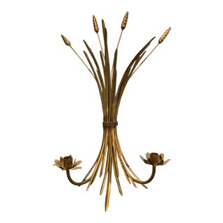 1990s Gold Wheat Candle Wall Sconce For Sale