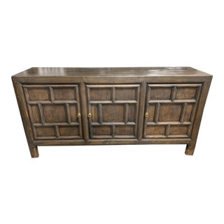 Asian Style Contemporary Dark Distressed 3 Door Cabinet For Sale