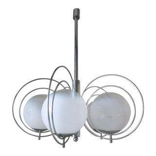 1960s Goffredo Reggiani Globes Murano Glass and Chrome Chandelier For Sale