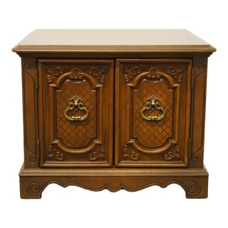 Italian Provincial Hickory Tavern Walnut Storage End Table For Sale