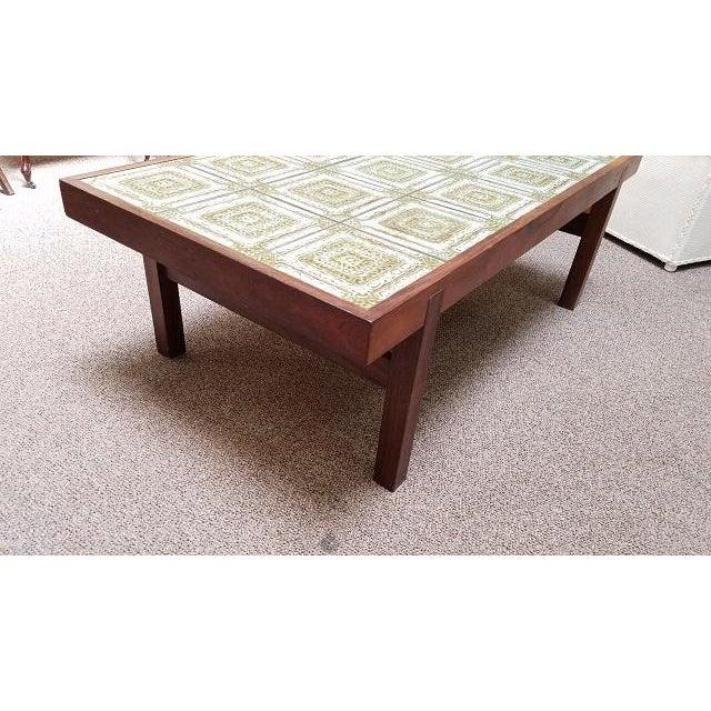 Danish Modern Walnut Ceramic Tile Coffee Table C 1960 For Image 4