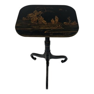 Vintage Black Chinoiserie Side Table For Sale