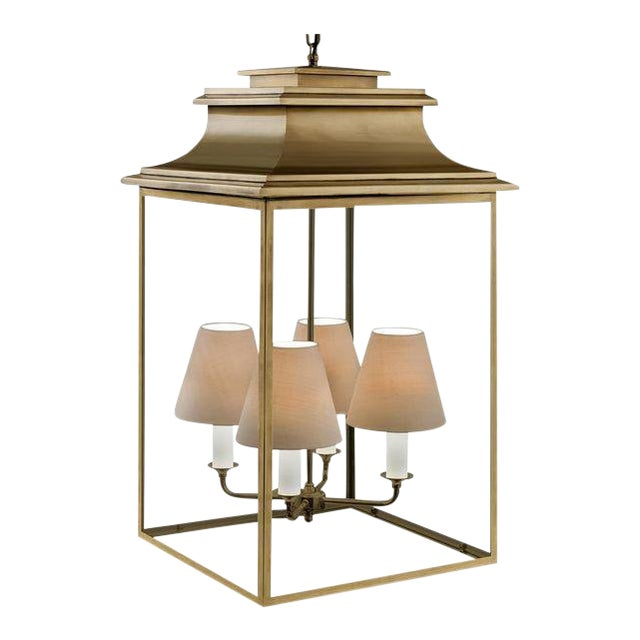 4 Candle Antique Brass Lantern For Sale