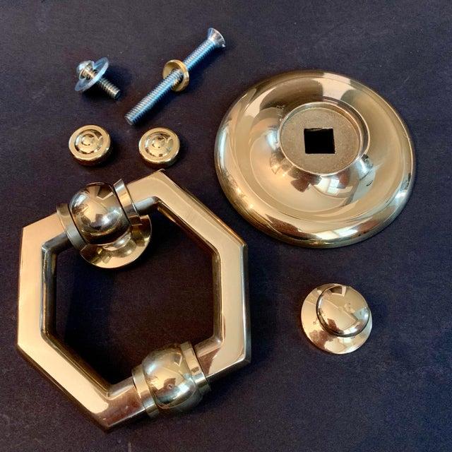 2010s Italian Brass Hexagonal Ring Door Knocker For Sale - Image 5 of 11