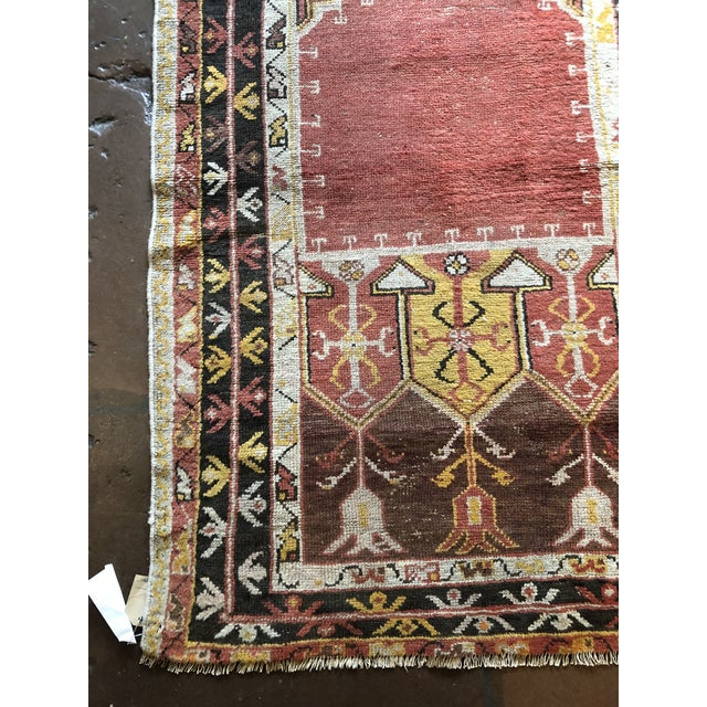 "Antique Turkish Wool Prayer Rug. Hand-woven, measuring at 3' x 4'8"". A prayer rug or prayer mat is a piece of fabric,..."