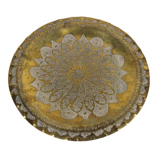 Moroccan Moorish Round Decorative Brass Tray For Sale