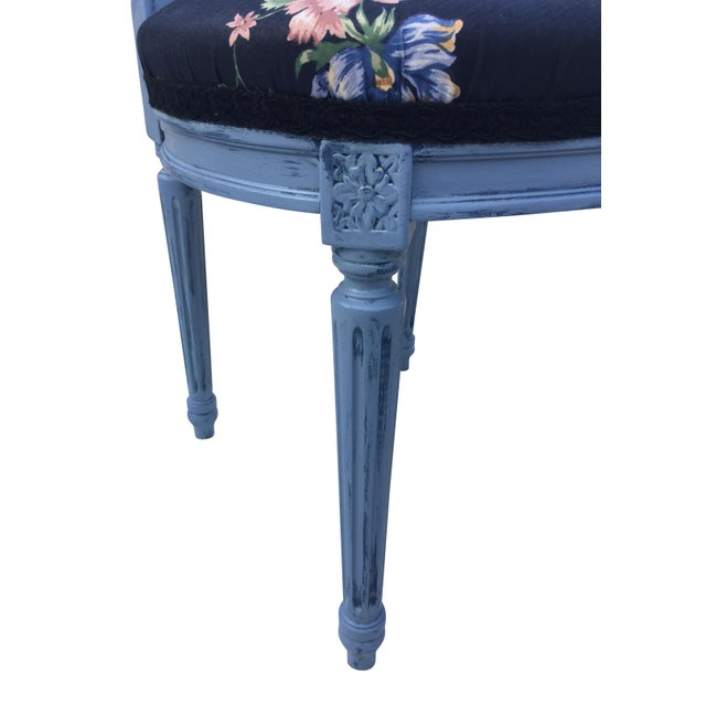 Louis XVI Ballon back dining or side chairs attributed to Maison Jansen. Covered in a colorful floral Cotten chintz fabric...
