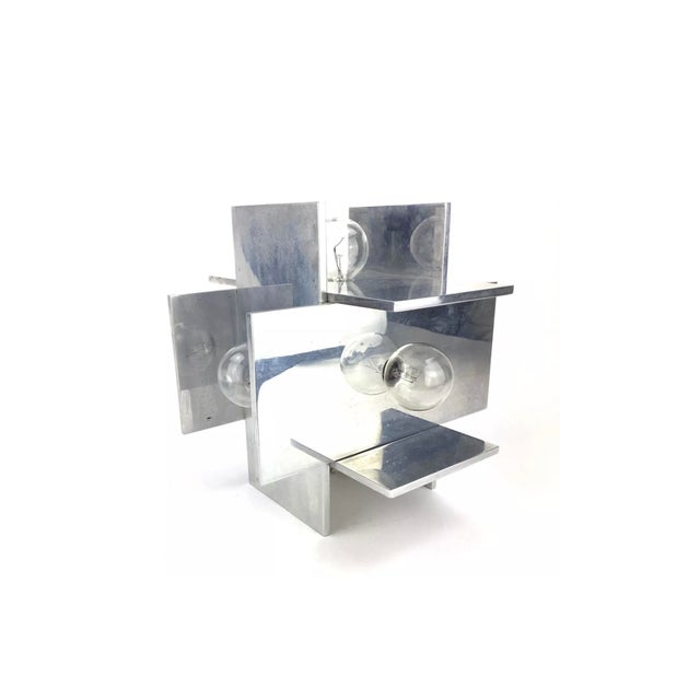 Rare Vintage Paul Mayen for Habitat Post Modern Geometric Aluminum Planed Lamp For Sale In Atlanta - Image 6 of 7