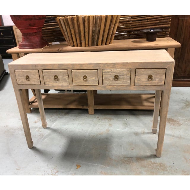Wood Boho Chic Graywash 5 Drawer Console For Sale - Image 7 of 7
