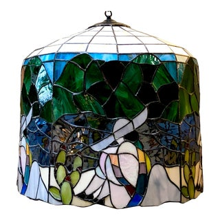 1940s Handcrafted Bell Shaped Southwestern Stained Glass Chandelier For Sale