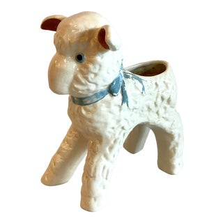 Vintage Ceramic Lamb Planter For Sale