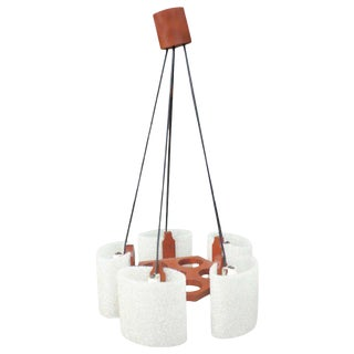 1950s Danish Mid-Century Modern Spun Plastic and Wood Chandelier from France For Sale