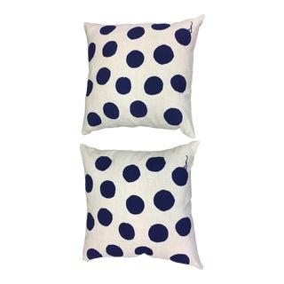 Erin Flett Blue Polka Dot Pillows - A Pair