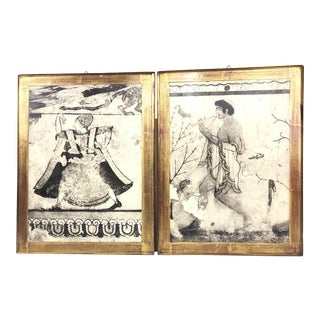 Pair of Vintage Etruscan Tomb Prints on Gilded Wood For Sale