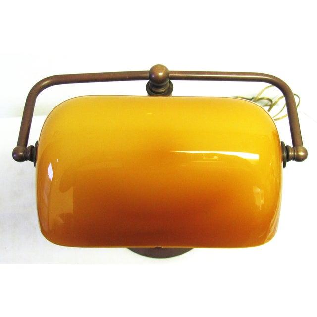 Vintage Amber Glass Banker's Copper Table Lamp - Image 4 of 5