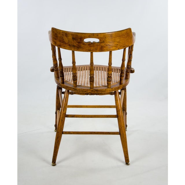Late 19th Century American Windsor Style Barrel Back Oak and Caned Side Chairs- A Pair For Sale - Image 12 of 13