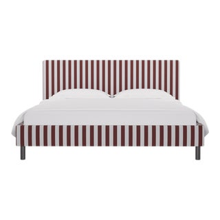 California King Tailored Platform Bed in Port Cabana Stripe For Sale