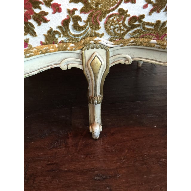 French Painted French Settee with Gilt Accents For Sale - Image 3 of 11