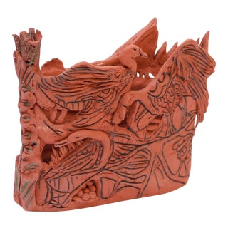 "Studio Terracotta ""Geese"" Vase Sculpture Signed For Sale"