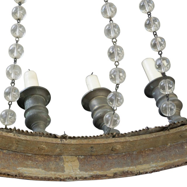 French French Iron and Glass Bead Candle Chandelier, Circa 1850 For Sale - Image 3 of 6