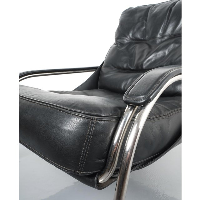 Marco Zanuso Maggiolina Sling Black Leather Chair by Zanotta, 1947 For Sale - Image 9 of 11