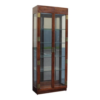 Mid Century Vintage Henredon Campaign Style Display Cabinet For Sale