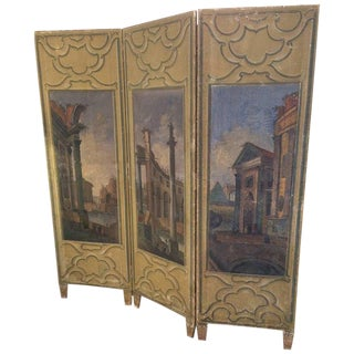 19th Century Continental Painted Screen For Sale