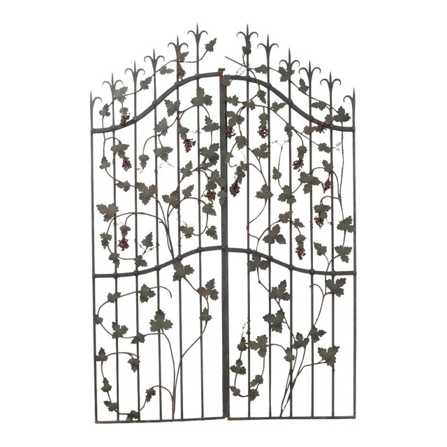 "Pair of French Early 20th Century Painted Wrought-Iron ""Grapevine"" Gates For Sale"