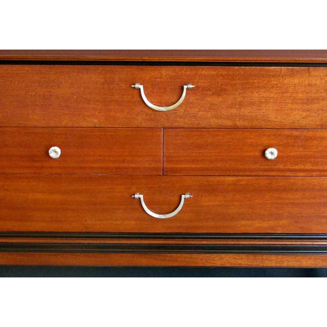 Mid-Century Modern An extremely good quality Tommi Parzinger designed for Charak Modern mid-century mahogany 4-drawer cabinet/chest with ebonized highlights For Sale - Image 3 of 7
