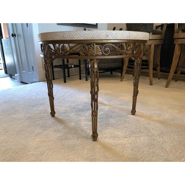 White marble table with glass insert. Metal four-legged base. Drexel Heritage Caminolamp table.