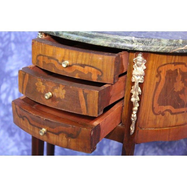 French Louis XV Marble Top End Tables - A Pair For Sale In New York - Image 6 of 8