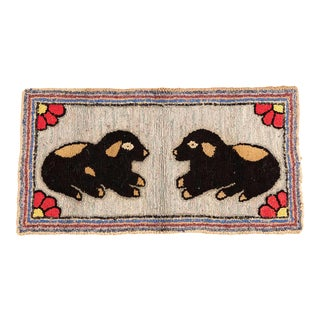 American Folk Art Hooked Rug of Two Puppies For Sale