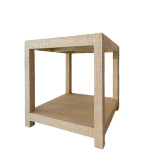 Contemporary Style Grasscloth End Table Preview