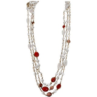 Goossens Paris Pink/Salmon Long Rock Crystal and Pearl Necklace For Sale