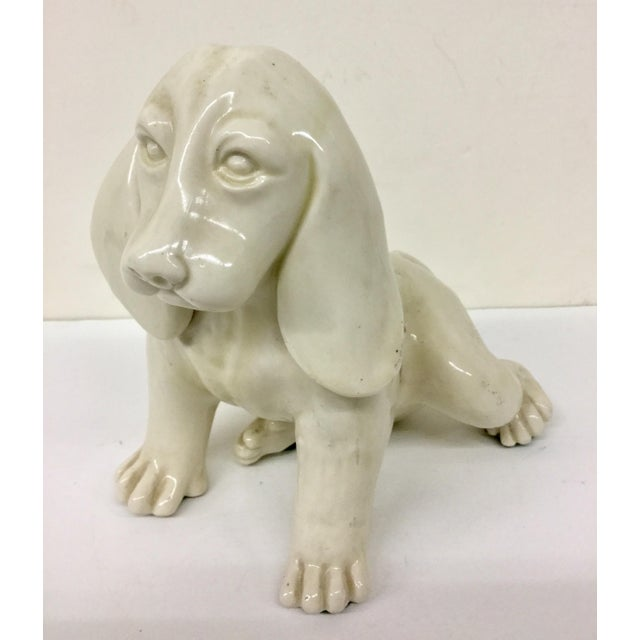 Antique French Porcelain Dog Statue For Sale - Image 11 of 11