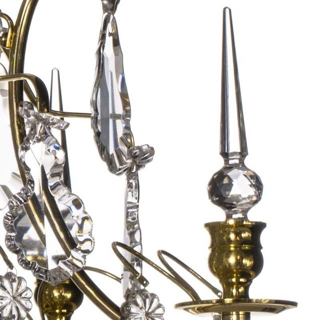 Baroque Bathroom Chandelier - Baroque Brass 5 Arm Obelisque Chandelier For Sale - Image 3 of 4