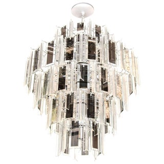 Hollywood Regency Chandelier With Lucite and Mirrored Glass Prisms, 1970's For Sale