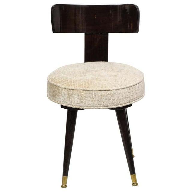 Mid-Century Modern Ebonized Walnut and Gauffraged Oyster Klismos Vanity Chair For Sale - Image 10 of 10