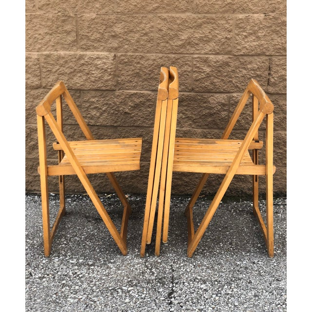 Tan Mid Century Modern Danish Folding Chairs- Set of 4 For Sale - Image 8 of 10